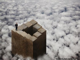 Picture of a business man standing on an escher-stairyway sticking up through the clouds